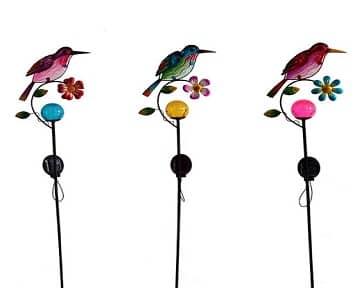 Solar Powered Metal Bird Art Stake