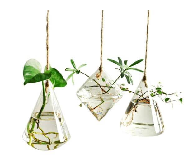 Ivolador Terrarium Container Flower Planter Hanging Glass Home Garden Decor 3 Types