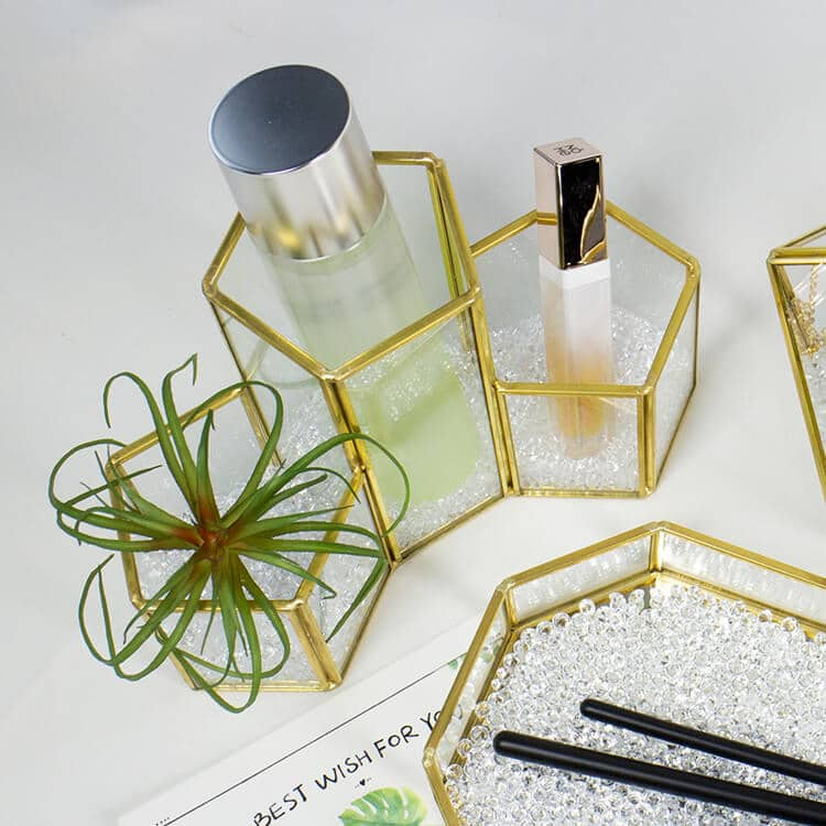Gold Glass Makeup Organizer