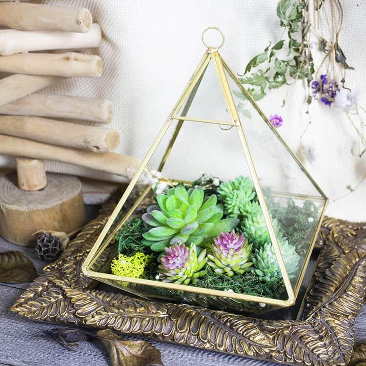 Gold Hanging Terrariums Using Live Plants