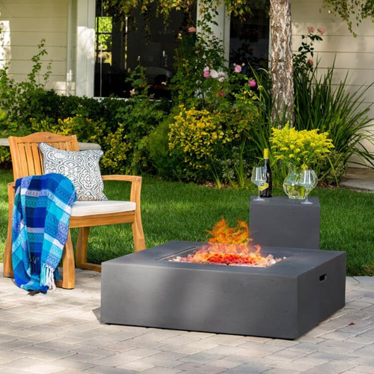 Square Propane Fire Pit Table for Patio