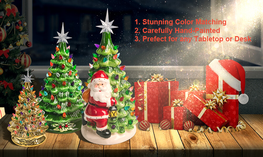 Various Colors of Ceramic Christmas Trees