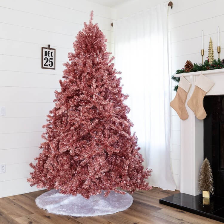 Red Tinsel Christmas Tree for Holiday Decor