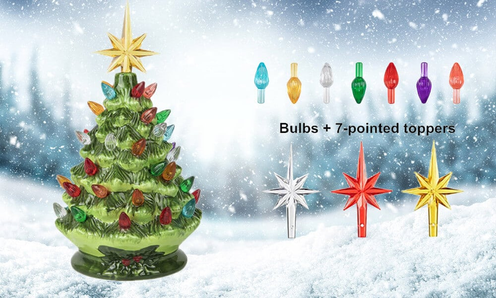 Ceramic Christmas Tree Lights and Toppers