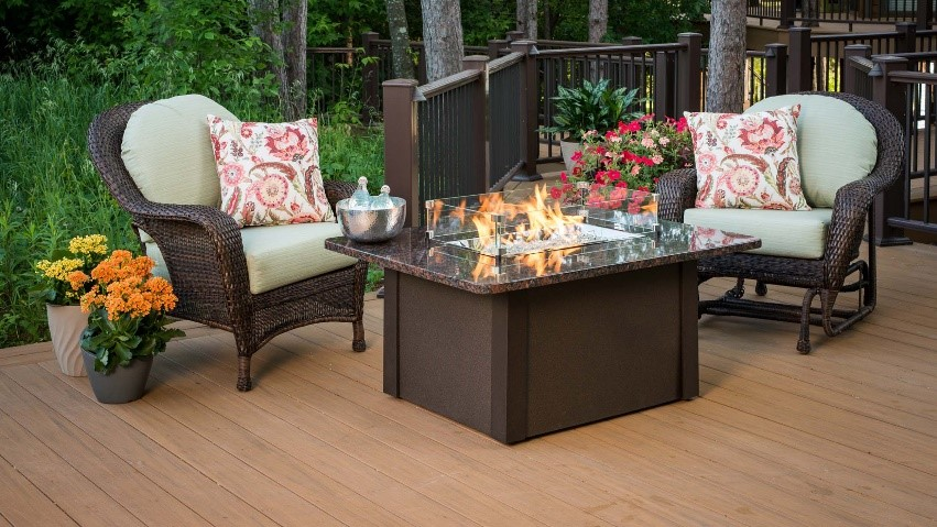 Propane Fire Pit Table on a Deck