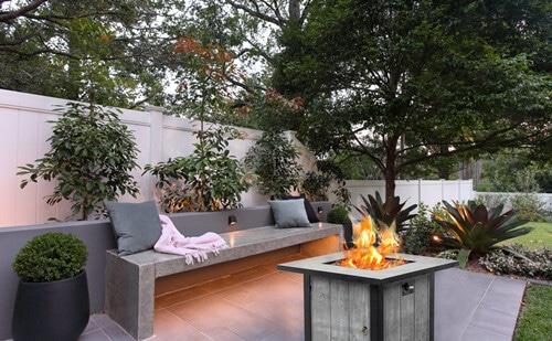 Square Propane Patio Fire Pit Table
