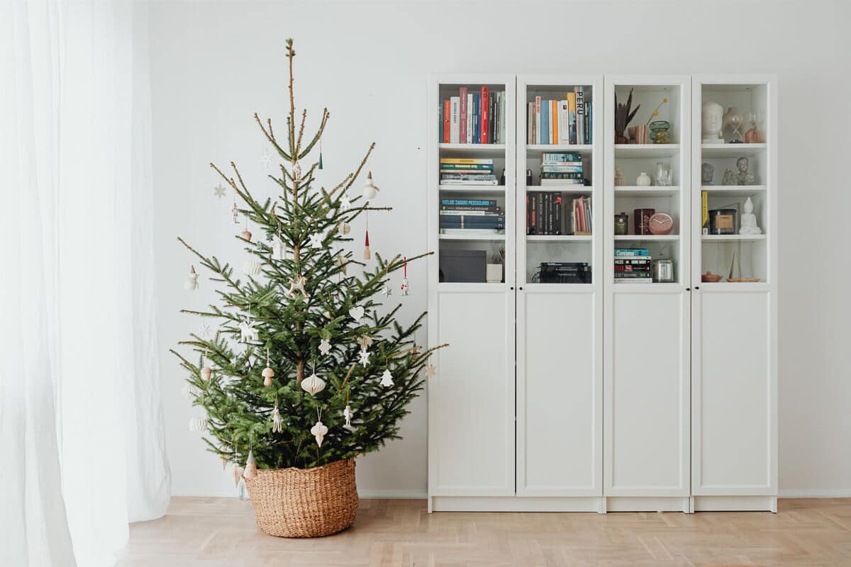 potted artificial christmas tree for home decor